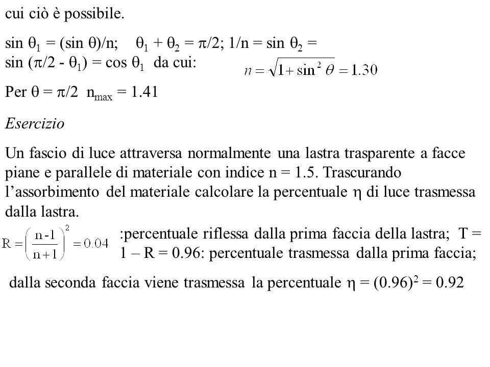 cui ciò è possibile. sin 1 = (sin )/n; 1 + 2 = /2; 1/n = sin 2 = sin ( /2 - 1 ) = cos 1 da cui: Per = /2 n max = 1.41 Esercizio Un fascio di luce attr