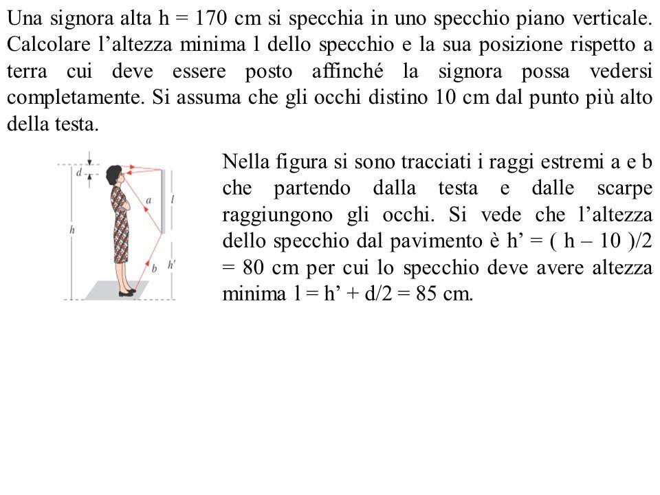 Una signora alta h = 170 cm si specchia in uno specchio piano verticale. Calcolare laltezza minima l dello specchio e la sua posizione rispetto a terr