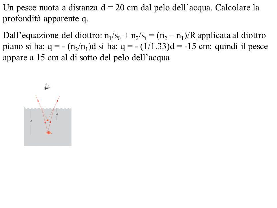 Un pesce nuota a distanza d = 20 cm dal pelo dellacqua. Calcolare la profondità apparente q. Dallequazione del diottro: n 1 /s 0 + n 2 /s i = (n 2 – n