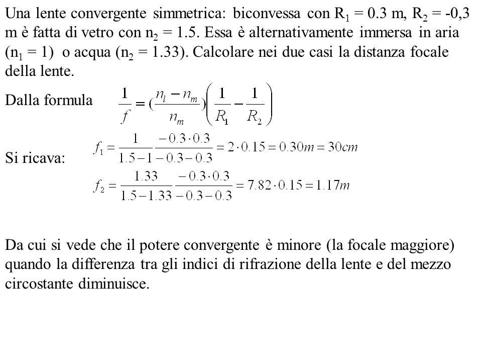 Una lente convergente simmetrica: biconvessa con R 1 = 0.3 m, R 2 = -0,3 m è fatta di vetro con n 2 = 1.5. Essa è alternativamente immersa in aria (n