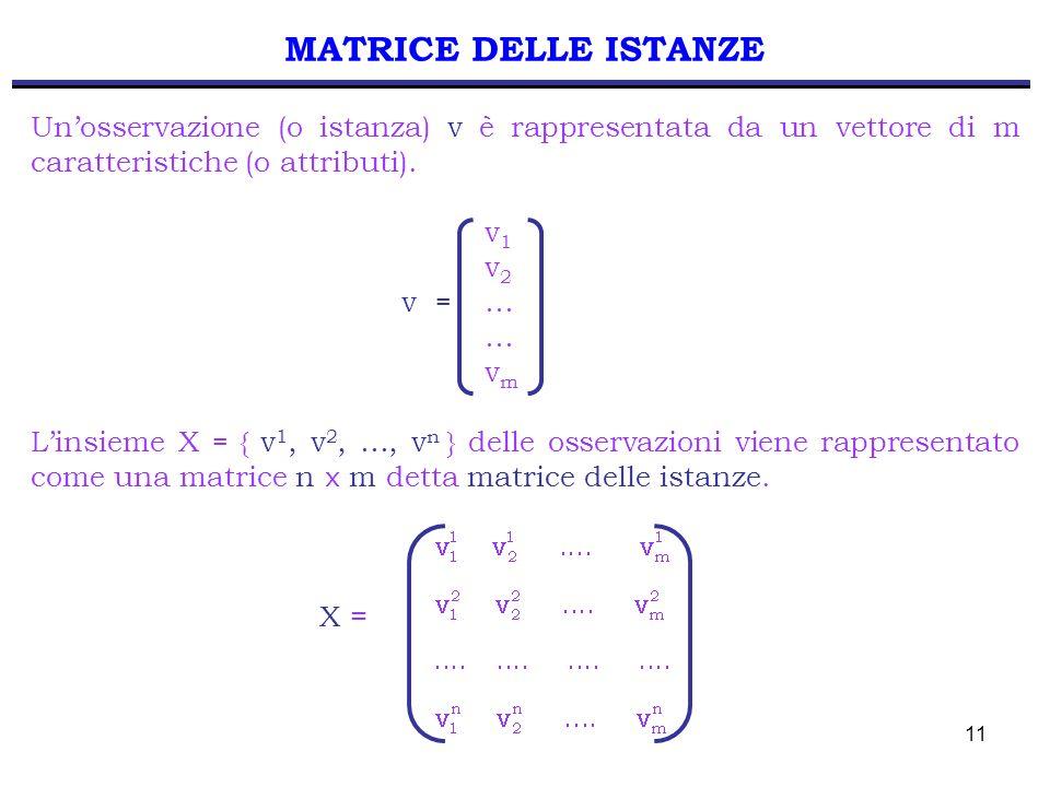 11 MATRICE DELLE ISTANZE Unosservazione (o istanza) v è rappresentata da un vettore di m caratteristiche (o attributi). v 1 v 2 v = … … v m Linsieme X