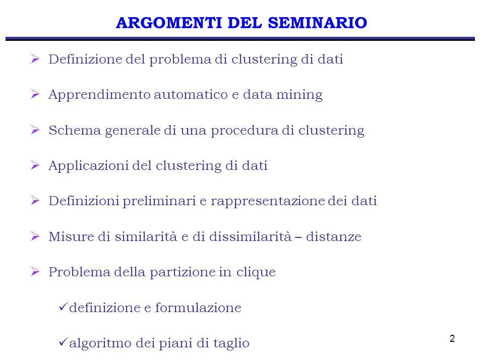 2 Definizione del problema di clustering di dati Apprendimento automatico e data mining Schema generale di una procedura di clustering Applicazioni de