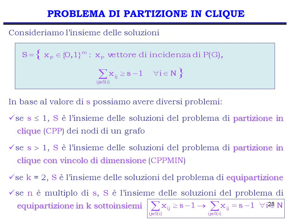 28 PROBLEMA DI PARTIZIONE IN CLIQUE In base al valore di s possiamo avere diversi problemi: partizione in clique se s 1, S è linsieme delle soluzioni