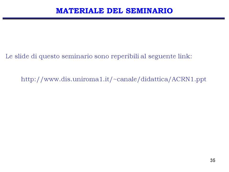35 MATERIALE DEL SEMINARIO Le slide di questo seminario sono reperibili al seguente link: http://www.dis.uniroma1.it/~canale/didattica/ACRN1.ppt