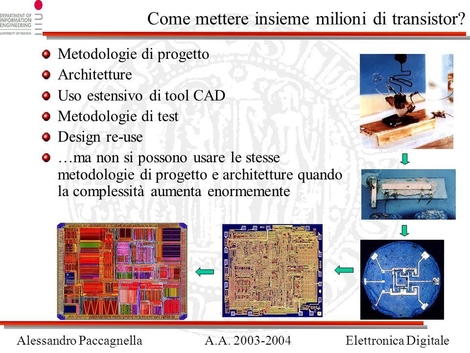 Alessandro PaccagnellaA.A. 2003-2004Elettronica Digitale Come mettere insieme milioni di transistor? Metodologie di progetto Architetture Uso estensiv
