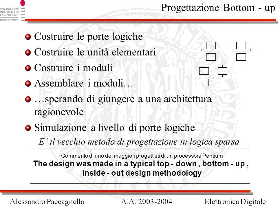 Alessandro PaccagnellaA.A. 2003-2004Elettronica Digitale Progettazione Bottom - up Costruire le porte logiche Costruire le unità elementari Costruire