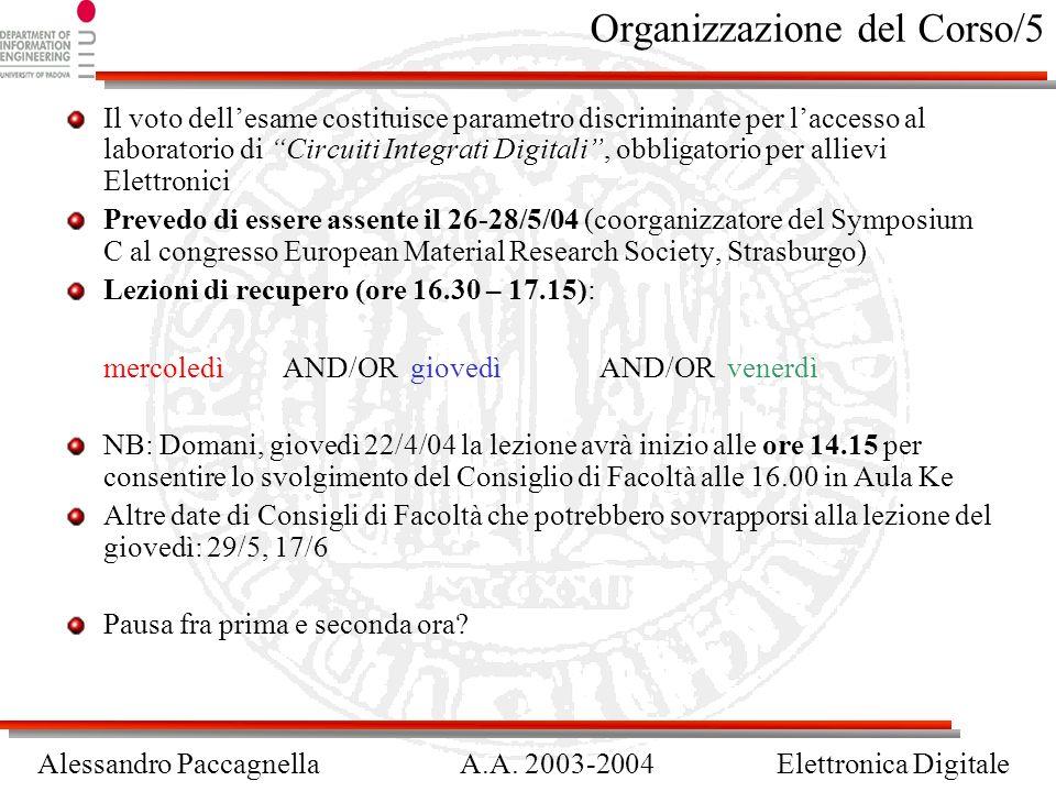 Alessandro PaccagnellaA.A. 2003-2004Elettronica Digitale Organizzazione del Corso/5 Il voto dellesame costituisce parametro discriminante per laccesso