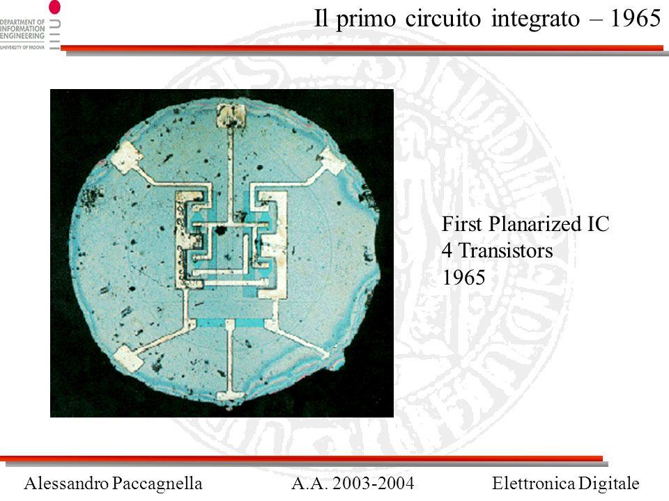 Alessandro PaccagnellaA.A. 2003-2004Elettronica Digitale Il primo circuito integrato – 1965 First Planarized IC 4 Transistors 1965