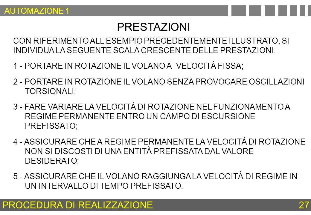 PRESTAZIONI 3 - FARE VARIARE LA VELOCITÀ DI ROTAZIONE NEL FUNZIONAMENTO A REGIME PERMANENTE ENTRO UN CAMPO DI ESCURSIONE PREFISSATO; CON RIFERIMENTO A