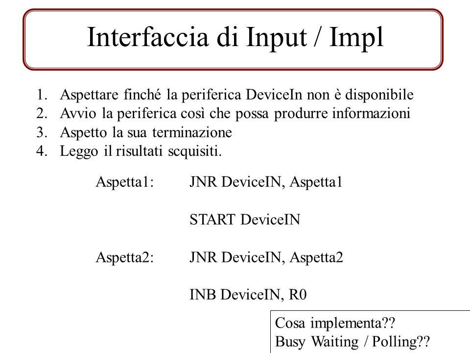 Interfaccia di Input / Impl 1.Aspettare finché la periferica DeviceIn non è disponibile 2.Avvio la periferica così che possa produrre informazioni 3.A