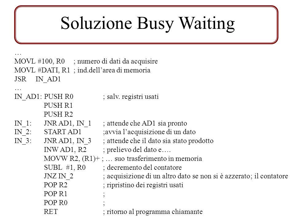 Soluzione Busy Waiting … MOVL #100, R0; numero di dati da acquisire MOVL #DATI, R1; ind.dellarea di memoria JSR IN_AD1 … IN_AD1: PUSH R0; salv. regist