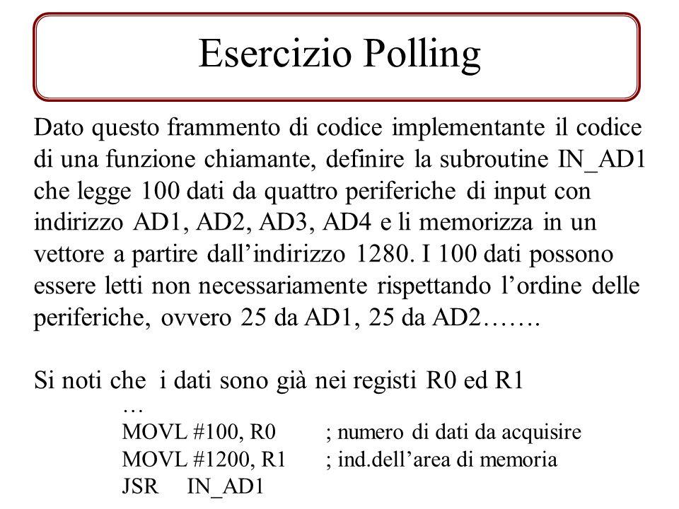Esercizio Polling Dato questo frammento di codice implementante il codice di una funzione chiamante, definire la subroutine IN_AD1 che legge 100 dati