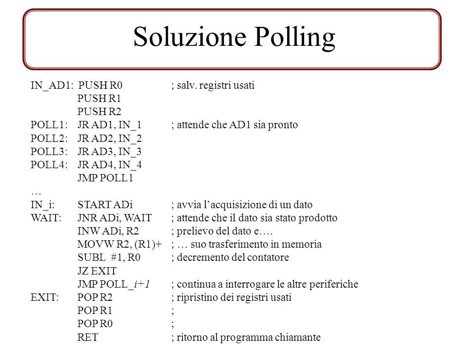 Soluzione Polling IN_AD1: PUSH R0; salv. registri usati PUSH R1 PUSH R2 POLL1:JR AD1, IN_1; attende che AD1 sia pronto POLL2: JR AD2, IN_2 POLL3: JR A