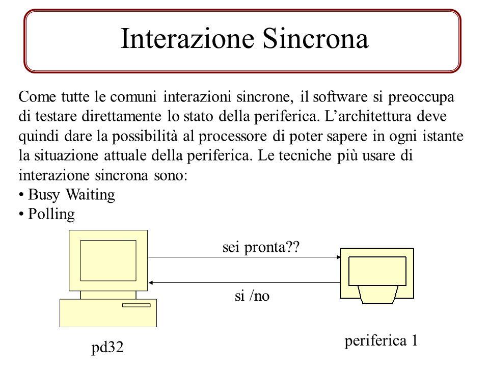 Interfaccia di Output / Impl Aspetta1: JNR DeviceOUT, Aspetta 1 OUT R0, DeviceOUT START DeviceOUT Aspetta2: JNR DeviceOUT, Aspetta2 1.Aspettare finché la periferica DeviceOut non è disponibile 2.Scrivi il dato sul registro di interfaccia 3.Avverto la periferica che può considerare un nuovo dato.