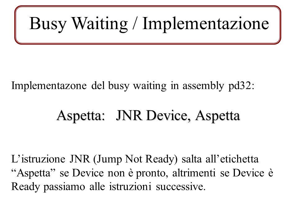 Esercizio Busy Waiting Dato questo frammento di codice implementante il codice di una funzione chiamante, definire la subroutine IN_AD1 che legge 100 dati dalla periferica di input con indirizzo AD1 e li memorizza in un vettore a partire dallindirizzo 1280.