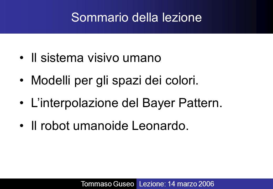 Sommario della lezione Il sistema visivo umano Modelli per gli spazi dei colori. Linterpolazione del Bayer Pattern. Il robot umanoide Leonardo. Lezion