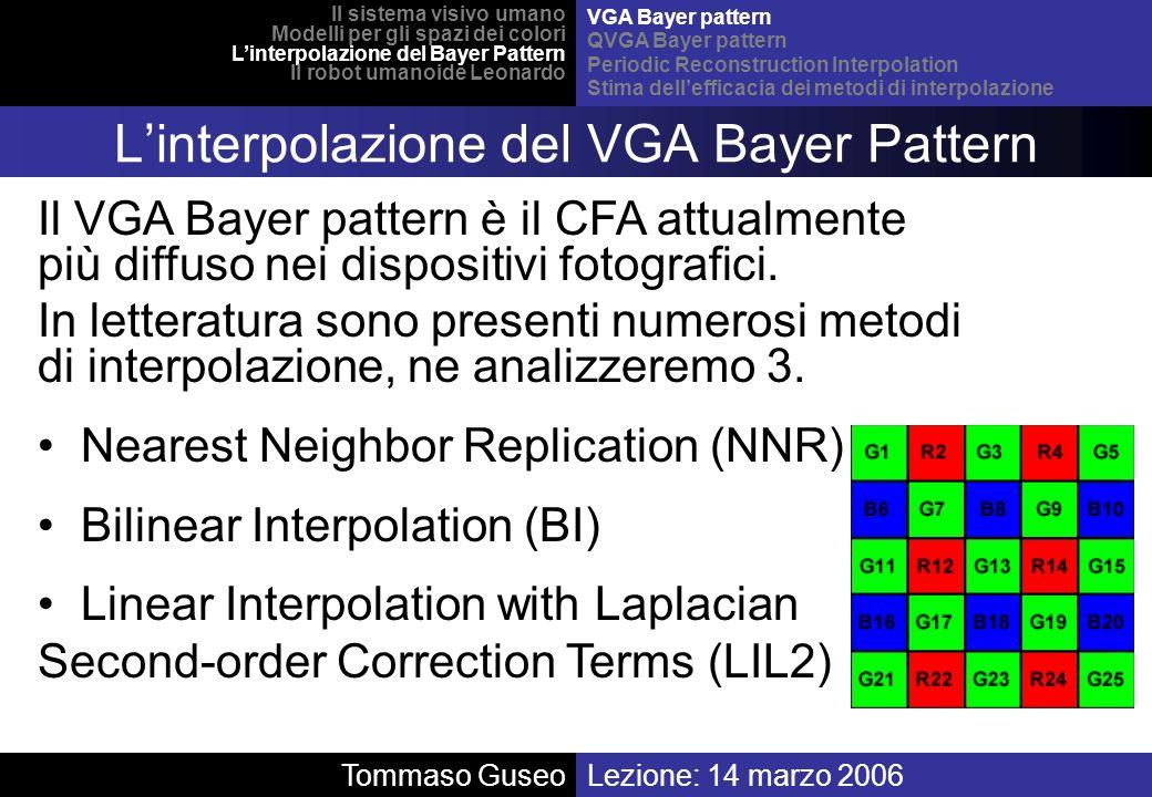 Lezione: 14 marzo 2006Tommaso Guseo Il sistema visivo umano Modelli per gli spazi dei colori Linterpolazione del Bayer Pattern Il robot umanoide Leona
