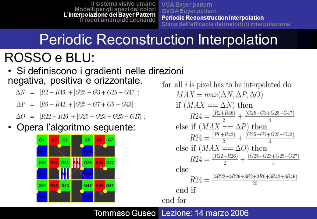 Lezione: 14 marzo 2006 Il sistema visivo umano Modelli per gli spazi dei colori Linterpolazione del Bayer Pattern Il robot umanoide Leonardo VGA Bayer