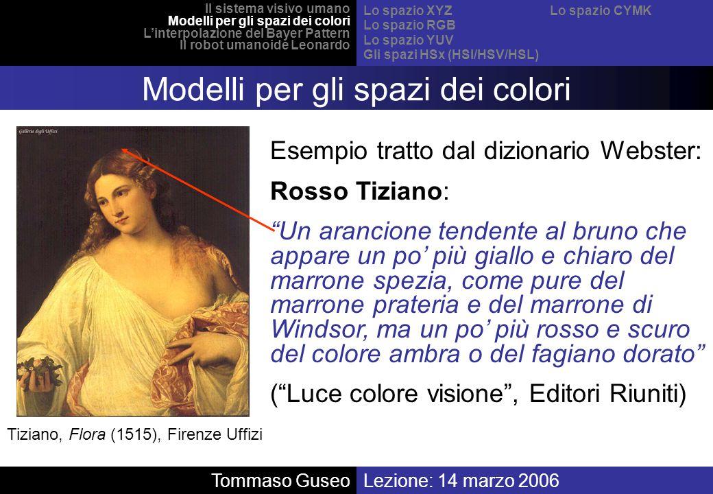 Tiziano, Flora (1515), Firenze Uffizi Esempio tratto dal dizionario Webster: Rosso Tiziano: Un arancione tendente al bruno che appare un po più giallo
