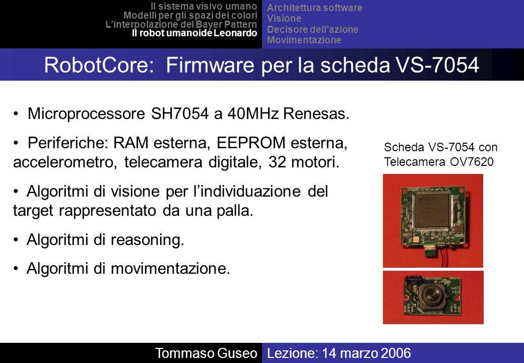 Lezione: 14 marzo 2006 Il sistema visivo umano Modelli per gli spazi dei colori Linterpolazione del Bayer Pattern Il robot umanoide Leonardo Architett