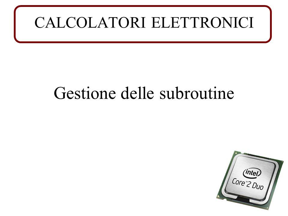 CALCOLATORI ELETTRONICI Gestione delle subroutine