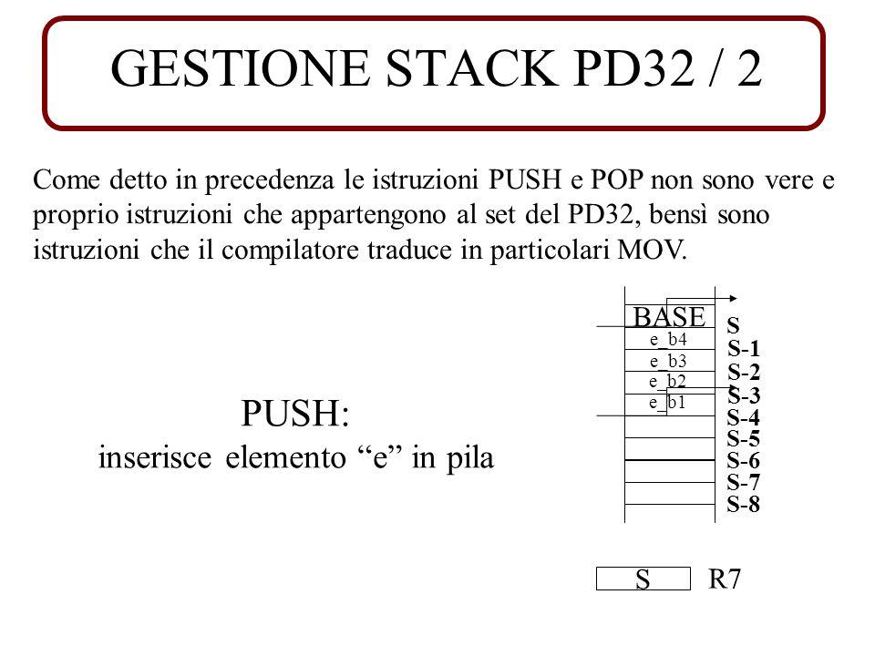 GESTIONE STACK PD32 / 2 Come detto in precedenza le istruzioni PUSH e POP non sono vere e proprio istruzioni che appartengono al set del PD32, bensì sono istruzioni che il compilatore traduce in particolari MOV.