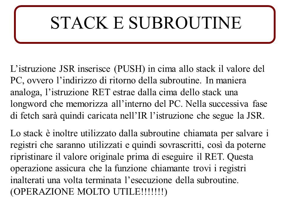 STACK E SUBROUTINE Listruzione JSR inserisce (PUSH) in cima allo stack il valore del PC, ovvero lindirizzo di ritorno della subroutine.