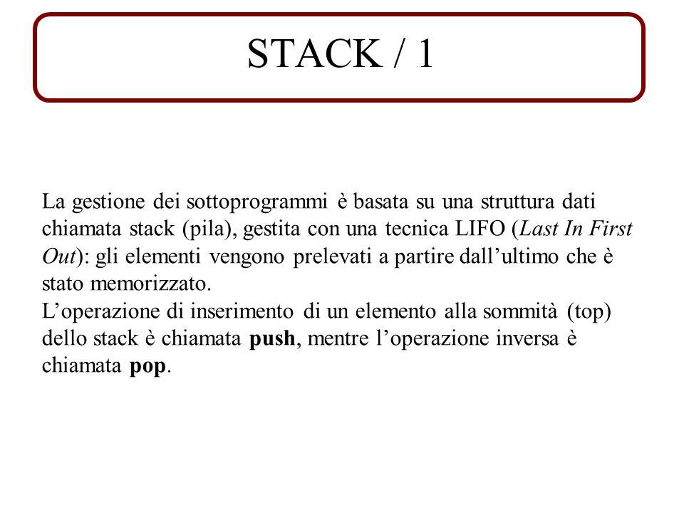 STACK / 1 La gestione dei sottoprogrammi è basata su una struttura dati chiamata stack (pila), gestita con una tecnica LIFO (Last In First Out): gli elementi vengono prelevati a partire dallultimo che è stato memorizzato.