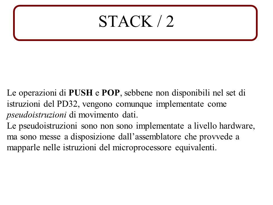 STACK / 2 Le operazioni di PUSH e POP, sebbene non disponibili nel set di istruzioni del PD32, vengono comunque implementate come pseudoistruzioni di movimento dati.