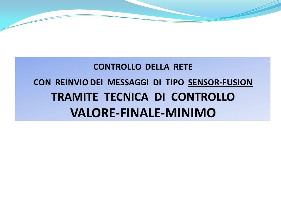 CONTROLLO DELLA RETE CON REINVIO DEI MESSAGGI DI TIPO SENSOR-FUSION TRAMITE TECNICA DI CONTROLLO VALORE-FINALE-MINIMO