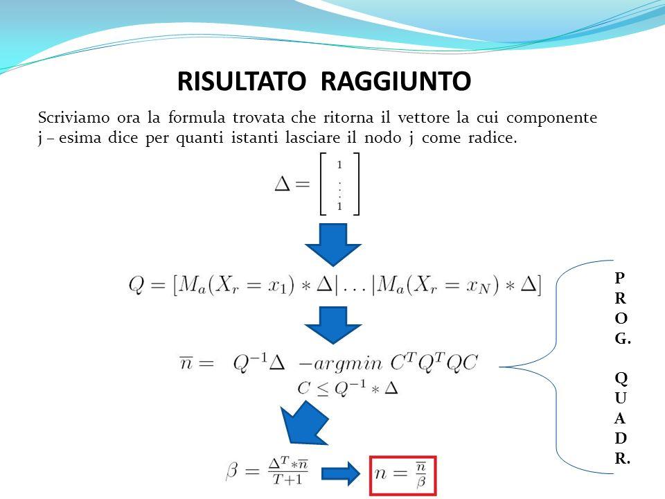 RISULTATO RAGGIUNTO Scriviamo ora la formula trovata che ritorna il vettore la cui componente j – esima dice per quanti istanti lasciare il nodo j com
