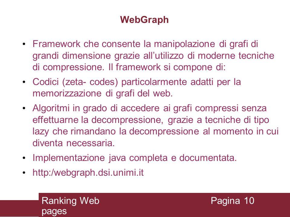 WebGraph Framework che consente la manipolazione di grafi di grandi dimensione grazie allutilizzo di moderne tecniche di compressione. Il framework si