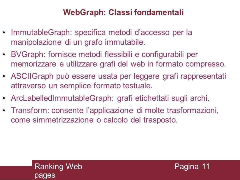 WebGraph: Classi fondamentali ImmutableGraph: specifica metodi daccesso per la manipolazione di un grafo immutabile. BVGraph: fornisce metodi flessibi