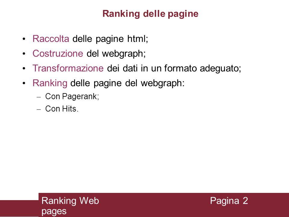 Ranking delle pagine Raccolta delle pagine html; Costruzione del webgraph; Transformazione dei dati in un formato adeguato; Ranking delle pagine del w