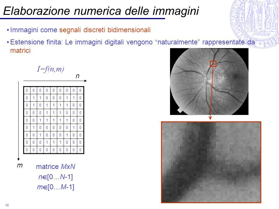 10 Elaborazione numerica delle immagini Immagini come segnali discreti bidimensionali Estensione finita: Le immagini digitali vengono naturalmente rap