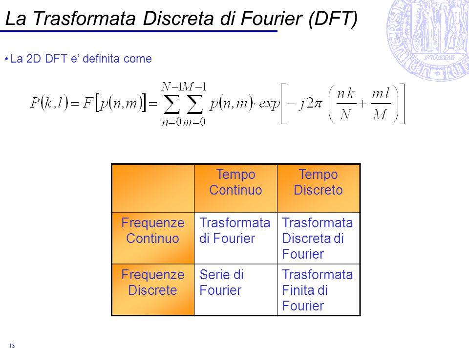 13 La Trasformata Discreta di Fourier (DFT) La 2D DFT e definita come Tempo Continuo Tempo Discreto Frequenze Continuo Trasformata di Fourier Trasform