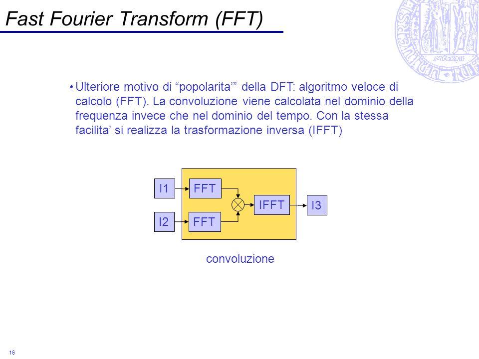 16 Fast Fourier Transform (FFT) Ulteriore motivo di popolarita della DFT: algoritmo veloce di calcolo (FFT). La convoluzione viene calcolata nel domin