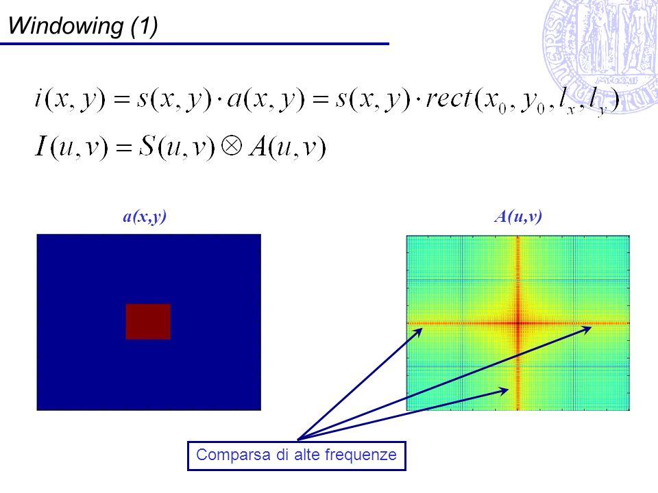 Windowing (1) a(x,y)A(u,v) Comparsa di alte frequenze