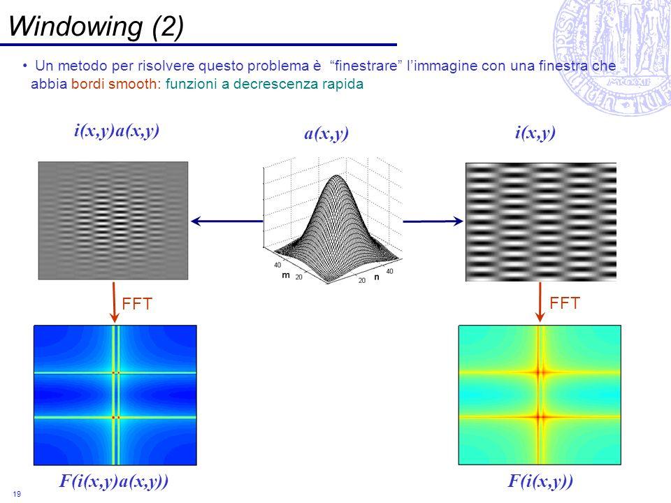 19 Windowing (2) Un metodo per risolvere questo problema è finestrare limmagine con una finestra che abbia bordi smooth: funzioni a decrescenza rapida