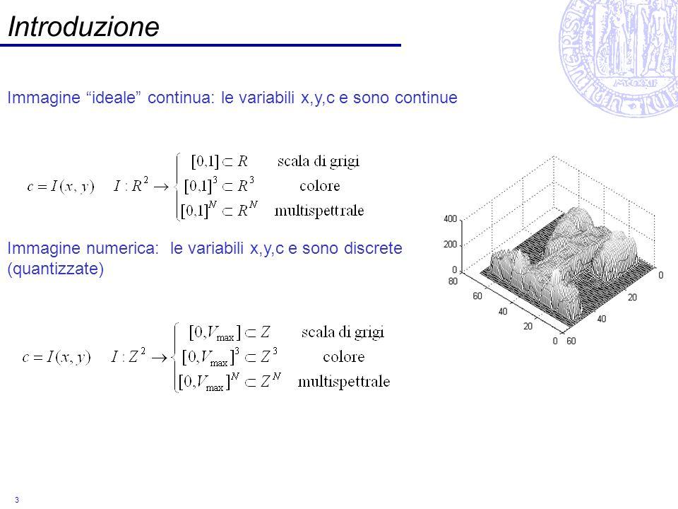 3 Introduzione Immagine ideale continua: le variabili x,y,c e sono continue Immagine numerica: le variabili x,y,c e sono discrete (quantizzate)