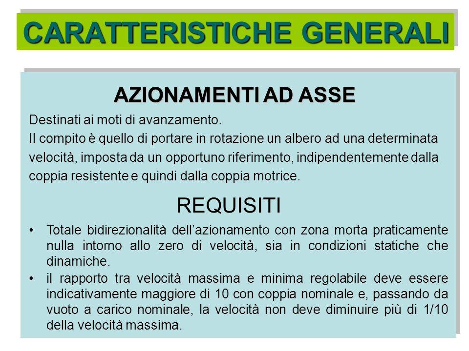 CARATTERISTICHE GENERALI AZIONAMENTI A MANDRINO Destinati ai moti di lavoro dellutensile o del pezzo a seconda del tipo di macchina.