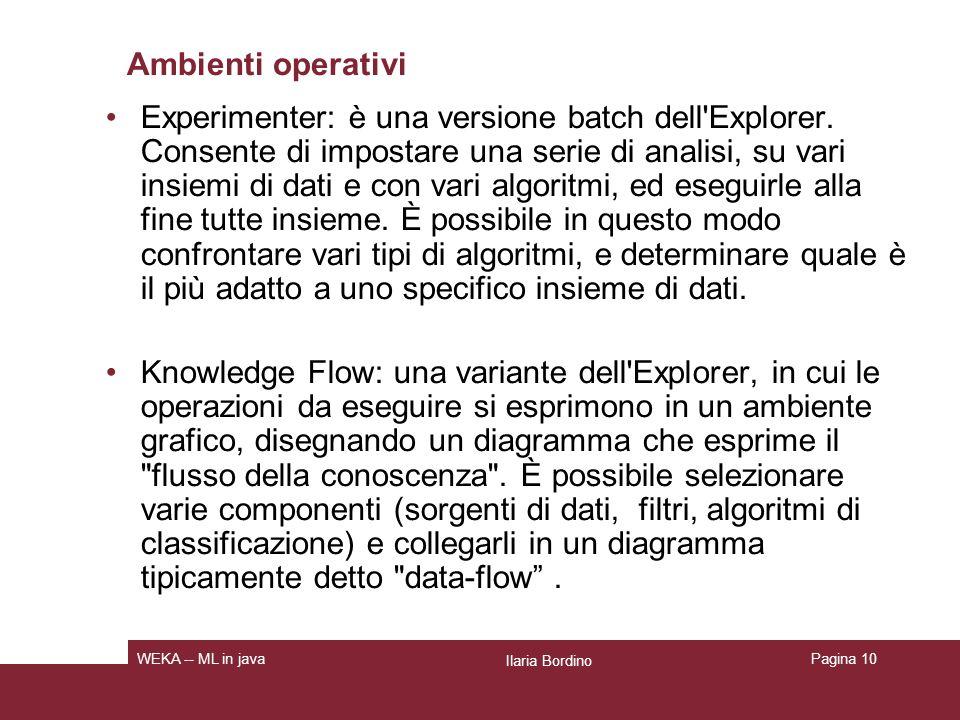 Ambienti operativi: Explorer Ilaria Bordino WEKA -- ML in javaPagina 11