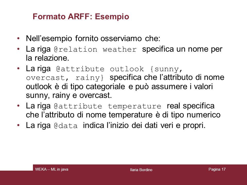 Formato ARFF Si può utilizzare il valore .come dato per indicare un valore mancante.