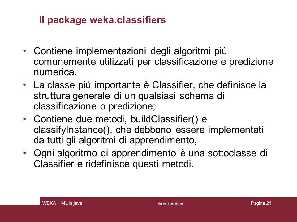 Altri package Weka.clusterers: Contiene unimplementazione di due importanti metodi di apprendimento non supervisionato: COBWEB ed EM.