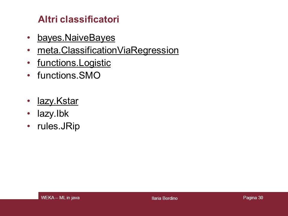 Classificatori: parametri generali -t: file di training (formato ARFF) -T: file di test (formato ARFF).