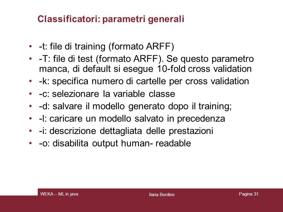 Output di un classificatore: weka.classifiers.trees.J48 java weka.classifiers.trees.J48 -t data/weather.arff –I La prima parte è una descrizione leggibile del modello generato.