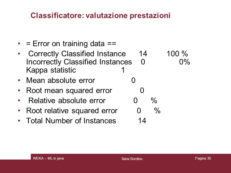 Classificatore: valutazione prestazioni = Error on training data == Correctly Classified Instance 14 100 % Incorrectly Classified Instances 0 0% Kappa