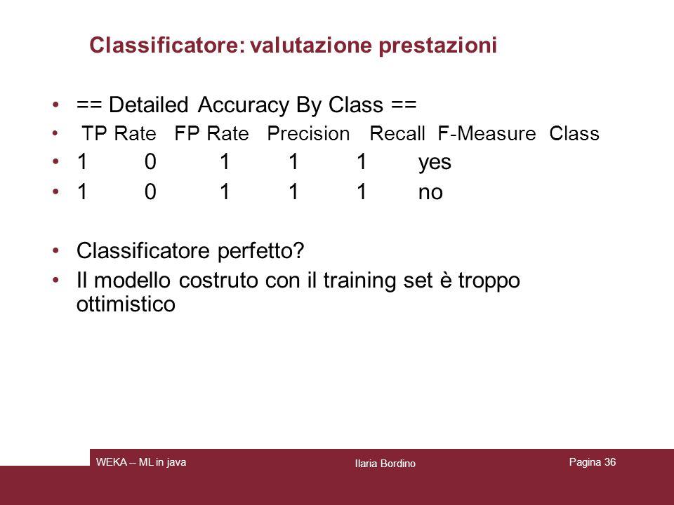 Classificatore: cross validation == Stratified cross-validation == Correctly Classified Instances 9 64.2857 % Incorrectly Classified Instances 5 35.7143 % Kappa statistic 0.186 Mean absolute error 0.2857 Root mean squared error 0.4818 Relative absolute error 60 % Root relative squared error 97.6586 % Total Number of Instances 14 Ilaria Bordino WEKA -- ML in javaPagina 37