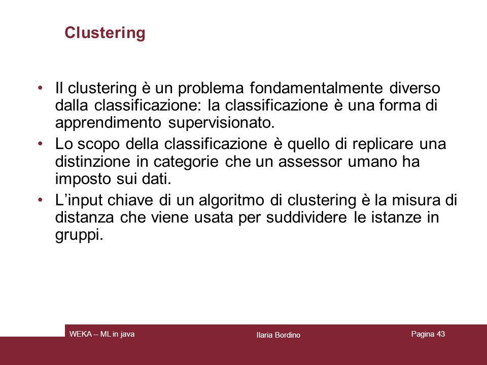 Tipi di clustering Flat clustering: crea un insieme di cluster piatto, senza una struttura gerarchica che metta in relazione I cluster luno con laltro.