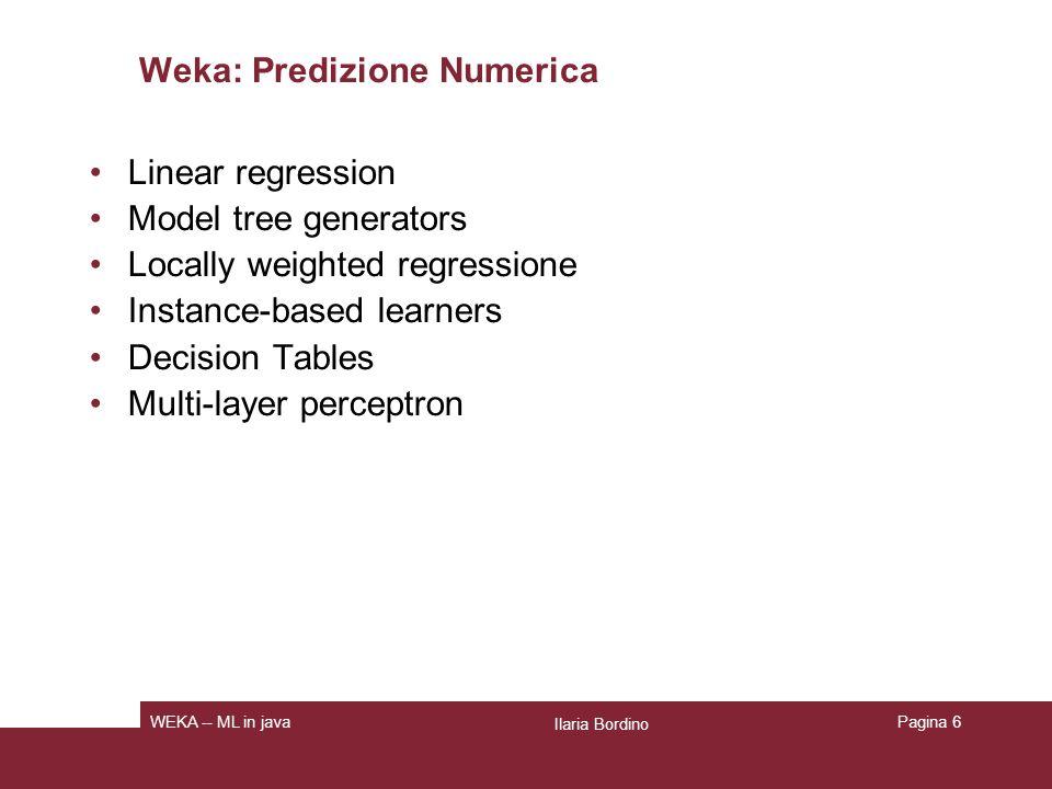 Meta Schemi Bagging Boosting Stacking Regression via classification Classification via regression Cost sensitive classification Ilaria Bordino WEKA -- ML in java Schemi per clustering EM CoWeb Pagina 7